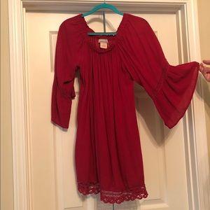 Red Off-shoulder dress